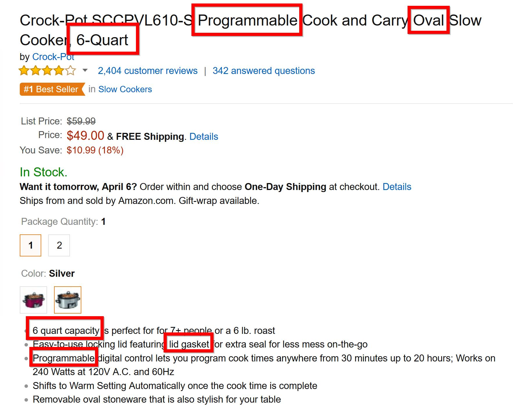 lsi palabras clave de la página del producto de comercio electrónico