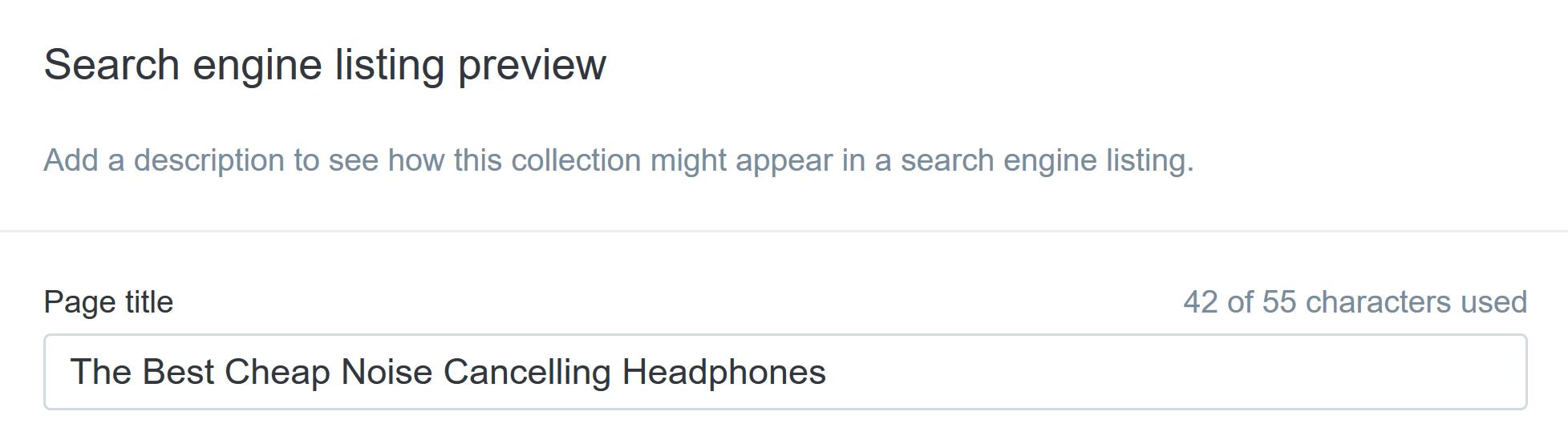 vista previa del listado del motor de búsqueda